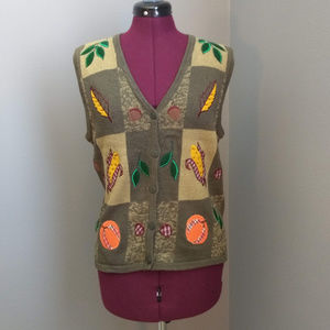 Vintage Green Fall Leaves Button Up Sweater Vest
